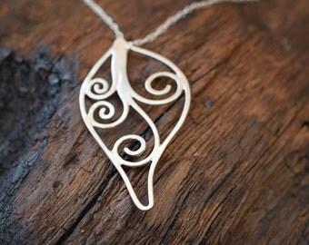 Elven Leaf Series: Full Leaf Pendant in Sterling Silver