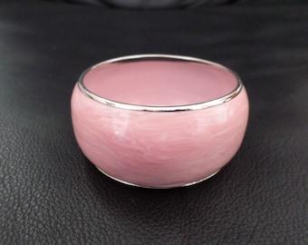 Vintage Pink Enameled Bangle Bracelet
