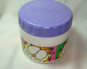 Vintage  Garfield THERMOS Brand Soup Hot Cold Thermos For Lunchbox.