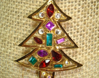 1980s Modern Jeweled Christmas Tree Pin.