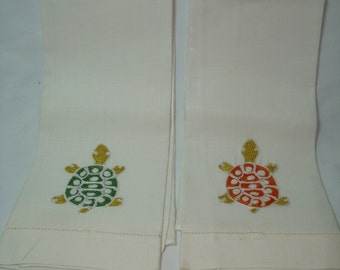 1950s All Linen Made in Ireland Embroidered Turtle Tea Towels Hand Towels.