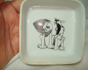 1977 Kersten Brothers Company The Inside Story Lion Lioness ENESCO Porcelain Dish.