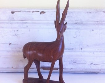 Vintage Small Wooden Standing Gazelle Figurine, Mid Century, Hand Carved