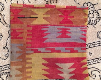 Vintage Turkish Kilim Pillow / 16x16""