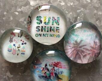 Sunshine on my mind set of four Glass Magnets
