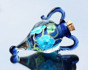Blue Lampwork Vessel/ perfume bottle/ Glass bottle/ Lampwork Flower / SRA