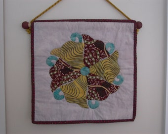 Quilt  Butterfly Wheel Japanese Family crest wallhanging hand appliqued and hand quilted