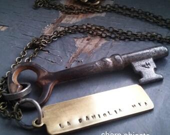 Familia 4 - mens vintage numbered skeleton key, brass stamped tag & sealed link chain necklace
