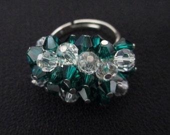 Emerald Green Cluster Cha Cha Ring Swarovski Crystals Clear Faceted Glass Rounds Silver Adjustable Cocktail Ring Statement Bling Ring