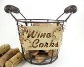 Wine Cork Holder Wire Basket Wood Sign