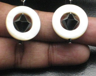 Shell and Bicone Beaded Earrings