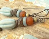 Rustic Summer Blue Melon Earrings
