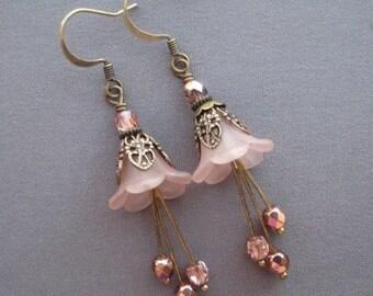 Light Pink Earrings - Flower Earrings - Flower Jewelry - Romantic Jewelry - Pink Earrings - Dangle Earrings - Gifts for Her - Vintage Style