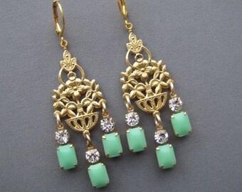 Chandelier Earrings - Art Nouveau Earrings - Vintage Rhinestone Earrings - Mint Earrings - Mint Jewelry - Floral Earrings - Romantic Earring