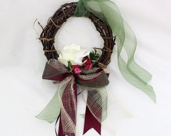 MADE TO ORDER - Wedding Pew or Chair Wreath, Grapevine Wreath with Silk Flowers for Aisle Decor, Wedding Ceremony Decor, Wedding Chair Decor
