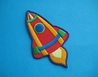 Clearance~ 3 pcs Iron-on Embroidered Patch Rocket 3.25 inch