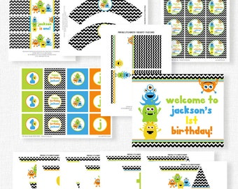 Little Monster Birthday Party Printables, Monster Party Decorations, Little Monster Boy Birthday, Printable Party Package
