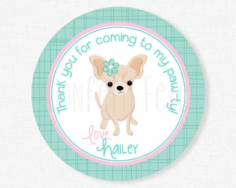 Chihuahua Birthday Favor Tags, Dog Party Favors, Puppy Party Tags, Girl Birthday Favor Tags, Pink and Teal Tag, Personalized