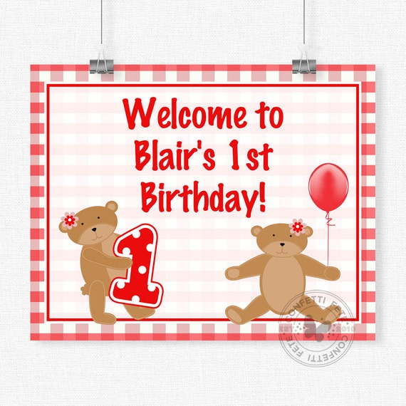Teddy Bear Picnic Birthday Sign, Teddy Bear Welcome Sign, Bear Party Decorations, Printable 8x10 Sign