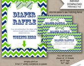 Bow Tie Diaper Raffle tickets and sign / navy green boy baby shower diaper raffle tickets, instant download / printable games, blue green