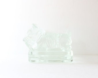 sale // Vintage Scottie Dog Set of Two Bookend Figurines - Clear Glass - heavy thick, block, Corning