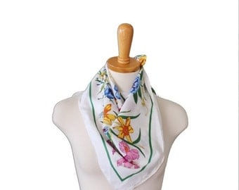 BLOWOUT 40% off sale Vintage 80s Boho Floral Butterfly Scarf - White Big Vibrant Colors - Spring Summer