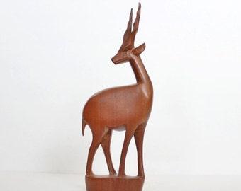 BLOWOUT 40% off sale Vintage 60s Hand Carved Wood Gazelle - Made in Kenya, mid century design