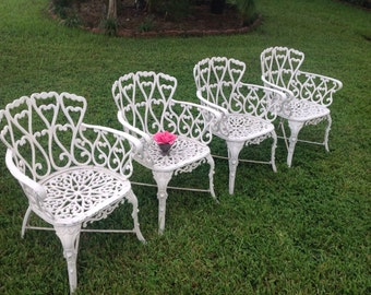 HAVE A HEART Vintage Chippy White Cast Aluminum Chairs / Set of 4 Arm Chairs / Shabby Chic Cottage Style at Retro Daisy Girl