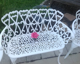HAVE A HEART Vintage White Cast Aluminum Settee / White Settee Shabby Chic Cottage Style at Retro Daisy Girl