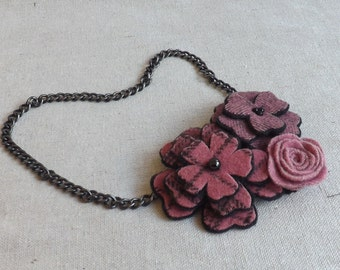 Flower Collage Necklace in Dusty Pink Plaids & Tweeds