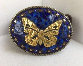 Butterfly Buckle, Brass Buckle, Belts for Women, Leather Belts, Western Buckle, Butterfly Gift, Cobalt Blue, Camilla Klein, Glass Buckle