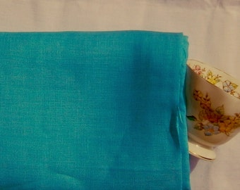 Pure linen TURQUOISE Blue ecofriendly fabric sewing supplies crafts home decor from MyGypsyCottage on Etsy