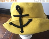 Frank Olive Yellow Nautical Boater Hat 1960s