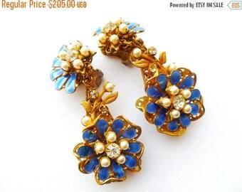 1940s Earrings Amourelle Electric Blue Enamel Pearl Stamped Brass Rhinestone Dangle Clip On Set Frank HESS