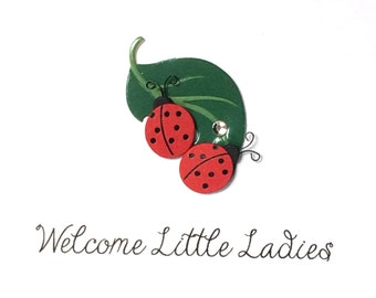 Twin Girls New Baby Card, Ladybug New Baby Card, Welcome Little Ladies, comes with envelope and seal, made on recycled paper
