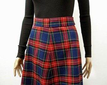 Vintage 1980s Flared Skirt Navy Red Plaid High Waist Handmade / Small