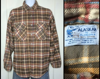 Vintage 1970's soft Alaskan Heavy Flannel Plaid Shirt looks size Large Brown Gold Yellow Cream Blue all cotton made in USA