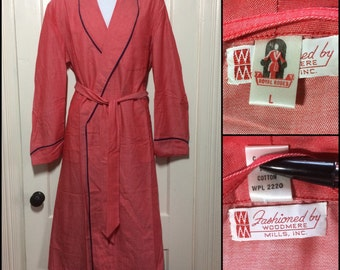 1950's deadstock Cotton Red Chambray Pink Mens long belted Robe size Large NOS Royal Robes