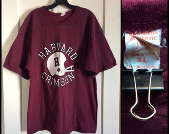 Vintage 1970's Harvard Crimson football team jersey t-shirt size XL Southern Athletic 1020