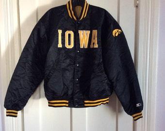 1980's Black Starter Jacket size L Iowa Hawk Eyes College Football Sports Team Satin Bomber made in USA