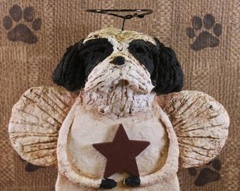 SHIH TZU Angel, OOAK, handmade from paper mache, Shih Tzu Angel