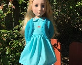 Embroidered Dress and Bolero type Cardigan for A Girl for All Time KNC and other 15 18 inch dolls including American Girl