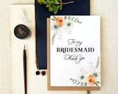 Bridesmaid Thank you card. Floral thank you. Maid of Honor thank you note. BT402