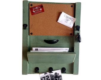 Entryway key hooks, mail organizer, corkboard, kitchen organizer, office organizer, country kitchen, farmhouse decor, rustic