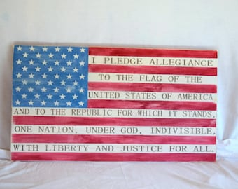 Wooden American Flag with Pledge of Allegiance Large 20x36