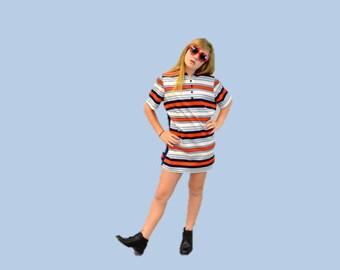 1960s MOD MINI dress summer stripe Navy Orange Aqua 60s striped tunic day dress retro hipster