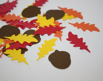 Fall Oak Leaf and Acorns Die Cut Confetti Table Decor 200 pieces