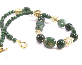 Natural Moss Agate and Green Quartz Beaded Necklace, Gemstone Jewelry