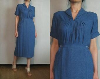 30s 40s TYROL AUSTRIAN 2 PIECE Set Vintage  Montreal Slate Blue Pleated Pencil Skirt Blouse Shirt Top Peasant Dress Set xs Small 1930s 1940s