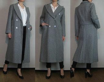 80s JOSEPH MAGNIN DOUBLE Breasted Vintage Wool Pin Stripes Pewter Gray Wool Midi Coat Menswear Style Huge Collar s/m Medium 1980s